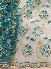 """TURQUOISE GOLD METALLIC EMBROIDERY MULTI SEQUIN BEIDAL LACE FABRIC 48"""" WiIDE 1 Y"""