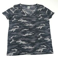 Victorias Secret Pink Womens T-Shirt Size L Gray Camouflage Short Sleeve Stretch