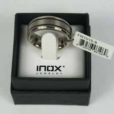 INOX JEWELRY Mens Titanium Band Ring With 2 Inlaid Rubber Detail Size 12
