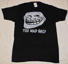 MEDIUM MD M MENS T-SHIRT COOL FACE YOU MAD BRO? COOLFACE GRAPHIC TEE TROLL FACE!