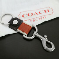 NEW COACH MEN Brown/Orange XL TRIGGER 2-in-1 Valet Keychain Keyring KEY FOB NEW