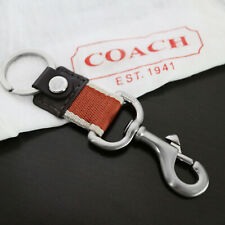 NEW COACH MEN Brown/Orange XL TRIGGER 2-in-1 Valet Keychain Keyring KEY FOB NEW