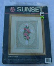 Sunset Floral Cross Needlepoint Kit #12108