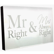 MR & MRS ALWAYS RIGHT LED MIRROR PLAQUE WALL ANNIVERSARY WEDDING PRESENT GIFT