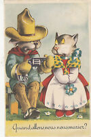 B80555 human attitude western couple   cat  front/back image