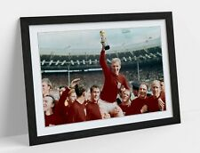ENGLAND WORLD CUP 1966 -FRAMED STREET ART POSTER PICTURE PRINT- BLUE