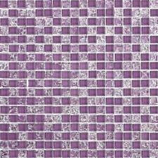 Purple Crackle And Plain Mix Glass Mosaic Wall Tiles 324 Piece Sheets MT0070
