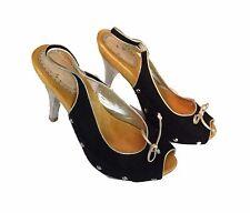 Bebe Peep Toe Bowtie Wooden Black Sandals Pumps Shoes Heels - SZ 7 7B