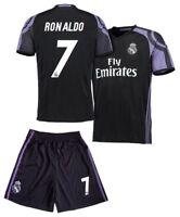 Real Madrid Soccer Black Third Jersey & Shorts Uniform #7 Ronaldo Kids Youth