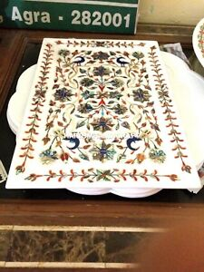 "12""x18"" Marble Serving Tray Plate Pauashell Inlaid Stone With Peacock Art H4372"