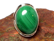 MALACHITE   Sterling  Silver  925 Gemstone  RING   -   Size R  -   Gift  Boxed