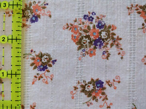 Lot 1327 Fabric, 2 Yards, Floral w/ Woven Stripes, Looks Like Apparel Cotton