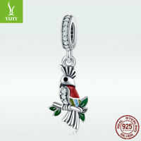 Fine 925 Sterling Silver Parrot Pendant Crystal Charm Bead For Bracelet Jewelry