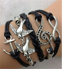 NEW Infinity Peace Dove Music Friendship Leather Charm Bracelet Plated Silver