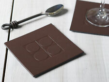 Set of 4 BROWN SQUARE EMBOSSED Leatherboard COASTERS