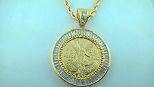 """CENTENARIO COIN with BAGGETTE stones Bezel  and 24"""" Rope Necklace"""