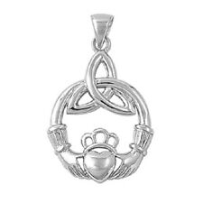 925 Sterling Silver Claddagh Pendant w/Trinity Knot - 28 mm - Rhodium Plated