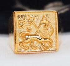Men's Lion Of Judah Ring 18k Gold Plate Rastafarian Jewelry
