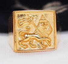 PREMIUM GOLD RING LION OF JUDAH Rastafari Ethiopia Jamaica Ganja Selassie