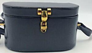 Vintage Oval Hard Side Box Purse Navy Blue Leather Brass Hardware Crossbody Bag