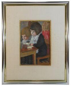 PIERRE VILLAIN (FRANCE, 1880-1950) SIGNED O/B SCHOOL CHILDREN LINEN MAT BRD/FRMD