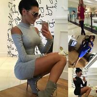 Womens Cold Shoulder Knit Mini Dress High Turtle Neck Ladies Tunic Bodycon H