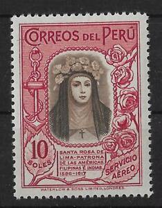 PERU AIR MAIL MH Scott #C39 10S Santa Rosa de Lima WATERLOW CV$125+