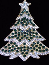 NIB MONET GOLD TONE CLEAR GREEN RHINESTONE CHRISTMAS TREE STAR PIN BROOCH 2.25""