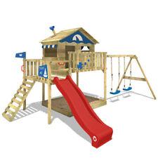 WICKEY Spielturm Klettergerüst Smart Coast Holz Schaukel Sandkasten rote Rutsche