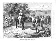 Hiring Harvest Hands in Virginia -  In the Piedmont Region - 1870 Antique Print