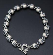 Soild 925 Sterling Silver  men's skull Handmade collection bracelet bangle S1660