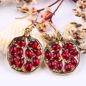 Vintage 925 Silver Ruby Ear Hook Stud Dangle Drop Earrings Women Party Jewelry