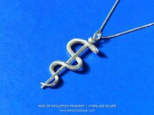 Rod of Asclepius Pendant - Sterling Silver - For Mothers in the Medical Field