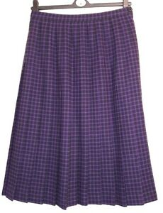 Windsmoor. Black & Purple Pleated Kilt Style, Wool mix Skirt. Size 16. Worn Once
