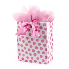 """Hallmark 15"""" Extra Large Gift Bag with Tissue Paper Pink Polka Dots and Bow for"""