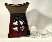New Ceramic Brown Oil Burner with Strawberry Oil and Tea Light Diffuser Set