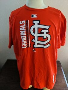 MLB St. Louis Cardinals Baseball Red S/S T-Shirt Majestic Triple Peak Size 2XL