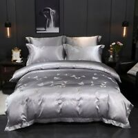Luxury Bedding Set Cotton Satin Silk Bed Set  Duvet Cover Bed Sheet Set Silky
