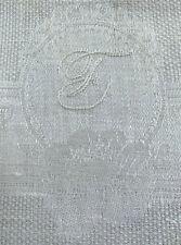 "antique linen damask towel 35x17.5"" Art Deco damask, ladd. hems, w monogram F"