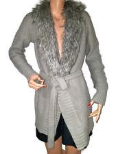 a.n.a  A New Approach Gray Metallic Threads Open Front Faux Fur Cardigan Belt M