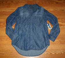 NWT Womens Terre Bleue Dark Wash Denim Shirt Long Sleeves Sz Medium