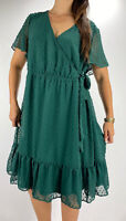NEW YOU + ALL Green Polka Dot Ruffle Faux Wrap Midi Dress Plus Size AU 18 Party