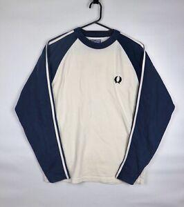 Fred Perry Vintage 80s Sweatshirt Long Sleeve Retro Logo Blue Cream Size S