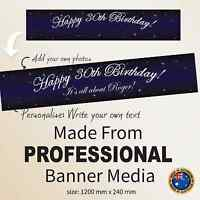 Personalised 30th 21st Birthday Decorations Canvas Fabric Starry  Party Banner