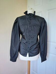 GOVERNESS VICTORIAN EDWARDIAN HIGH NECK FRILL BLOUSE BNWT large 14 16 18 H&M