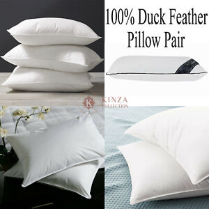 New Luxury Hotel Quality 100% Duck Feather Extra Filled Pillow Pair + Free Case
