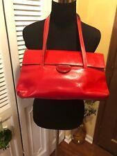 Prune Red Leather Shoulder Bag
