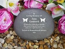 Grave Marker - Large Pebble (Stone Effect).  Personalised - Weatherproof - BFly