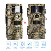 2PCS 20MP 1920X1080P Hunting Trail Camera Animal Cam Infrared Waterpoof 30fps