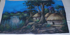 "Beautiful Ethiopia Oil Painting on rawhide Village Life Huts Waterfall 25""x16"""